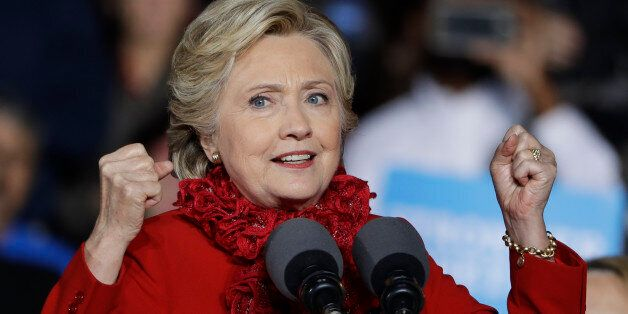 Democratic presidential candidate Hillary Clinton campaigns at the base of the John A. Roebling Suspension...