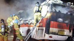 관광버스 화재사고로 빠져나오지 못한 10명이