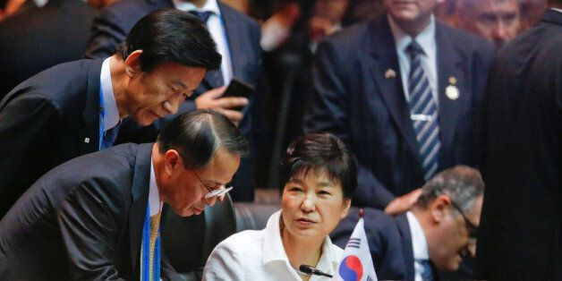 South Korea's President Park Geun-hye attends an EAS Meeting alongside the ASEAN Summits in Vientiane,...