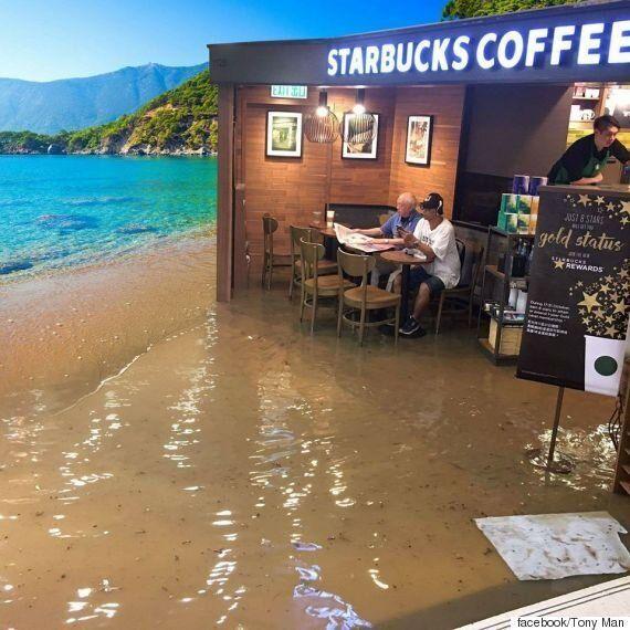 홍수 속에서도 한 잔의 커피를 즐길 수 있는 노인의 여유가 온갖 패러디를