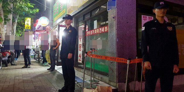 19일 오후 서울 강북구 오패산 터널 인근에서 경찰들이 폭행 용의자 사제총기 발사 현장을 지키고