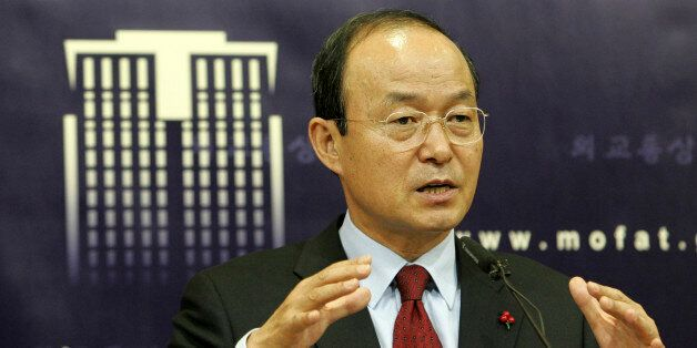 South Korean Foreign Minister Song Min-soon talks during a press briefing at the Foreign Ministry in...