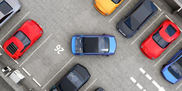 Aerial view of parking lot. Half of parking lot available for EV charging service. 3D rendering