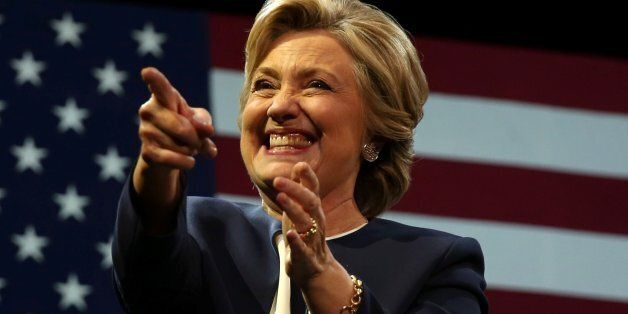 U.S. Democratic presidential nominee Hillary Clinton greets the crowd after speaking at a fundraiser...