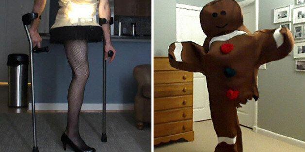 다리가 하나뿐인 남자의 유머러스한 할로윈