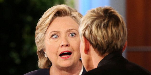 U.S. Democratic presidential nominee Hillary Clinton (L) chats to Ellen DeGeneres during a commercial...