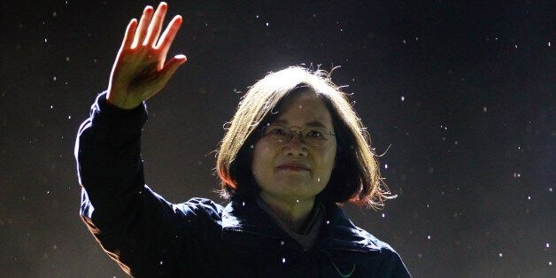Taiwan's Democratic Progressive Party (DPP) Chairperson and presidential candidate Tsai Ing-wen greets...