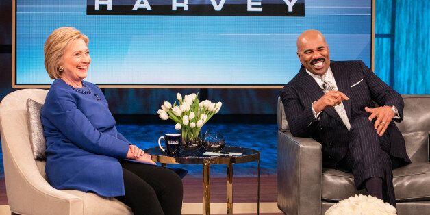 STEVE HARVEY -- Pictured: (l-r) Secretary of State Hillary Clinton, Steve Harvey -- (Photo by: Jeff Schear/NBC/NBCU...