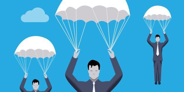 Business concept of golden parachute. Three businessmen falling down with parachutes. Financial success...