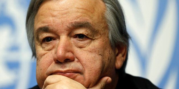 Antonio Guterres, High Commissioner for Refugees, pauses during a news conference for the launch of the...