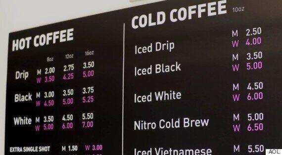 이 카페는 성별에 따라 커피값이