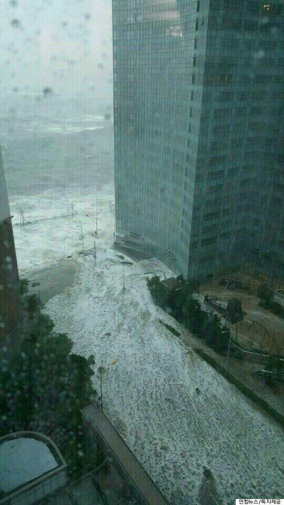 태풍 '차바'가 강타한 부산 및 남해 지역의