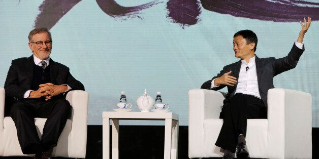 Steven Spielberg (L), film director and Chairman of Amblin Partners and Jack Ma, Chairman and chief executive...