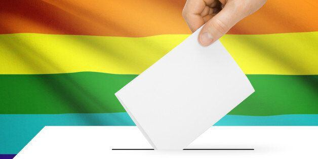 Ballot box with national flag on background series - LGBT