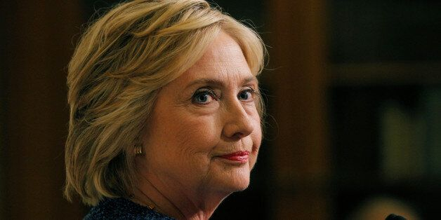 U.S. Democratic presidential candidate Hillary Clinton speaks to reporters after holding