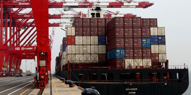 Giant cranes are seen at the Hanjin Shipping container terminal at Incheon New Port in Incheon, South...