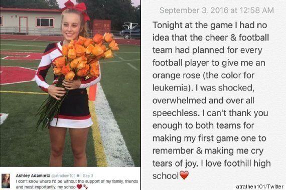 풋볼 선수들은 단 한 명의 치어리더에게만 꽃을
