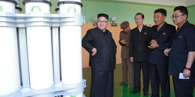 North Korean leader Kim Jong Un gives field guidance to the newly-built Medical Oxygen Factory in this...