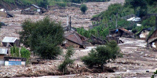 6만8900명의 이재민이 발생한 북한 홍수 사진이