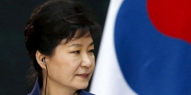South Korean President Park Geun-Hye is seen during a welcome ceremony at the National Palace in Mexico...