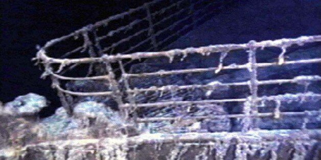 The port bow railing of the RMS Titanic lies in 12,600 feet of water about 400 miles east of Nova Scotia...