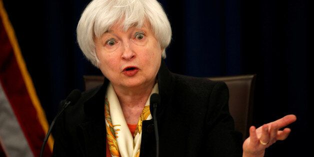 U.S. Federal Reserve Chair Janet Yellen holds a press conference following the Fed's two-day Federal...