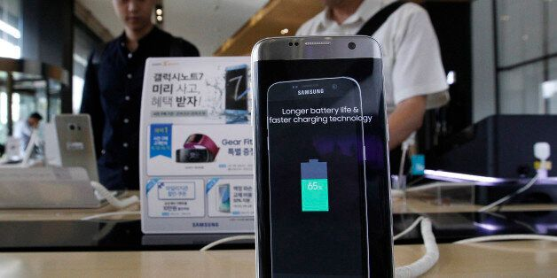 A Samsung Electronics Galaxy Note 7 smartphone is displayed at the headquarters of South Korean mobile...