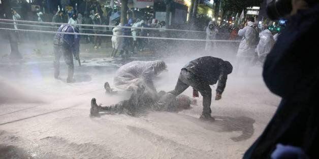 경찰 '물대포'에 맞고 쓰러진 백남기 농민이