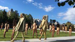 카니예 웨스트의 패션쇼에서 모델들이