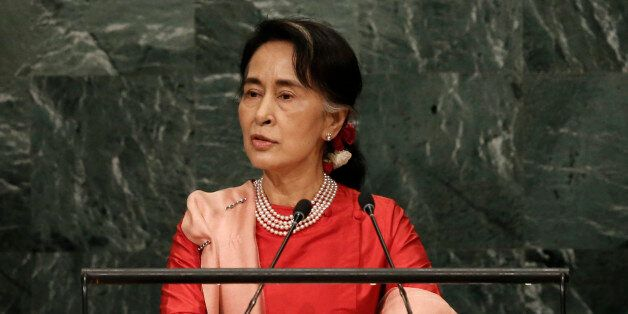 Myanmar's Minister of Foreign Affairs Aung San Suu Kyi addresses the 71st United Nations General Assembly...