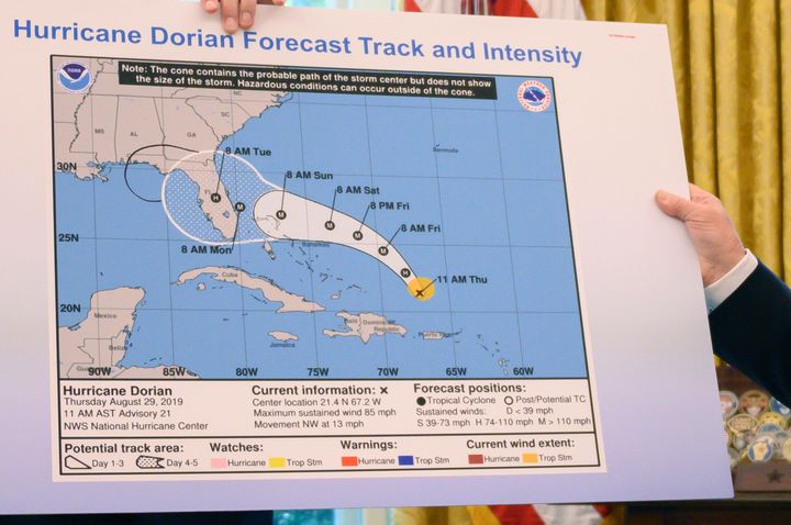 The map President Donald Trump displayed Wednesday included what appeared to be a Sharpie-drawn extension of the area Hurrica