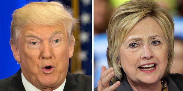 This photo combo of file images shows U.S. presidential candidates Donald Trump, left, and Hillary Clinton....