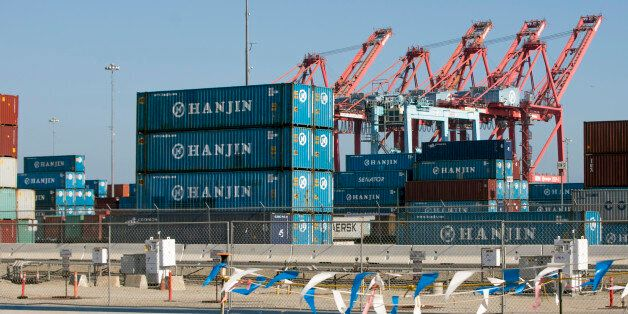 South Korea's Hanjin Shipping Co. containers are seen in the Port of Long Beach, Calif., on Thursday,...