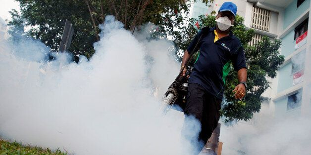 A worker fogs the common area of a public housing estate at a new Zika cluster in Singapore September...