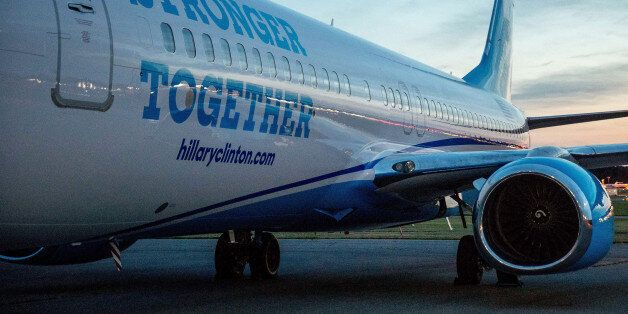A new campaign plane for Democratic presidential candidate Hillary Clinton sits on the tarmac at the...
