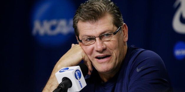 Connecticut coach Geno Auriemma speaks Sunday, March 30, 2014, at a news conference ahead of a regional...