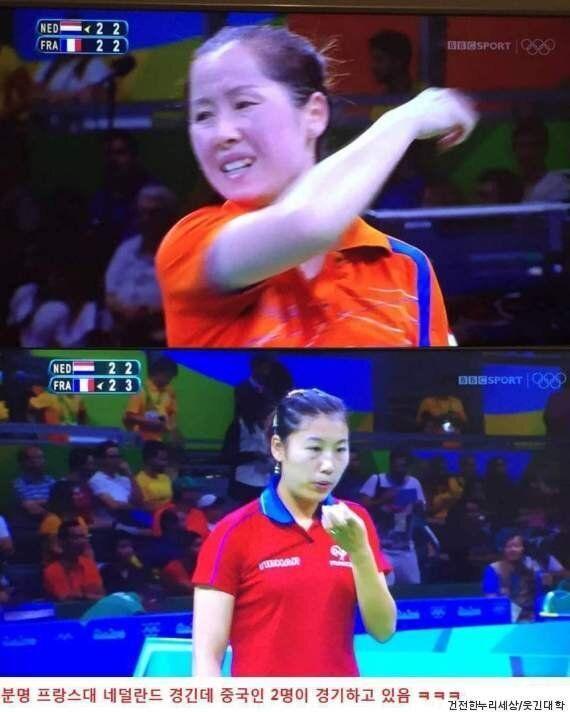 리우 올림픽 여자 탁구 경기에서 특이점이 발견됐다 (사진,