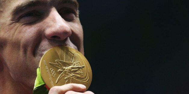 2016 Rio Olympics - Swimming - Victory Ceremony - Men's 4 x 100m Medley Relay Victory Ceremony - Olympic...