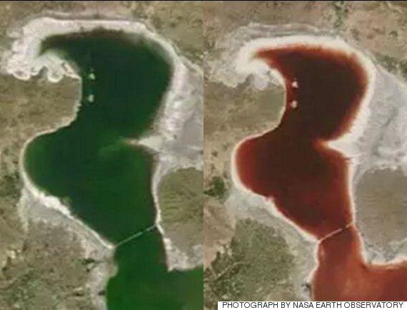 이란 북부에 등장한 핏빛 호수의