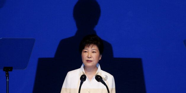 South Korean President Park Geun-hye delivers a speech during a ceremony marking the 71st anniversary...