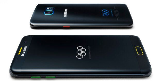 This undated product image provided by Samsung shows a special Olympic Games edition of its Galaxy S7...
