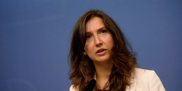 Swedish minister Aida Hadzialic announces at a news conference that she is resigning her education post...