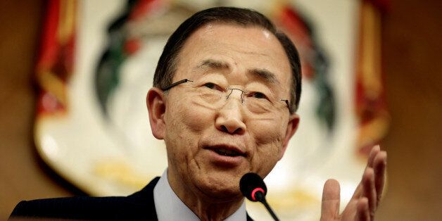 UN Secretary-General Ban Ki-moon, speaks during a press conference with World Bank President Jim Yong...