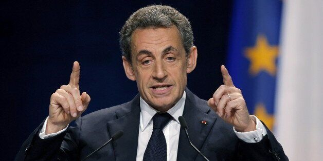 Former president and current head of the Les Republicains political party Nicolas Sarkozy, delivers a...
