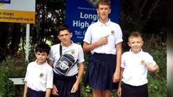 이 4명의 영국 소년은 '치마'를 입고 학교에 갔다(사진