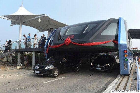 중국의 '터널형 버스'가 시범운행을