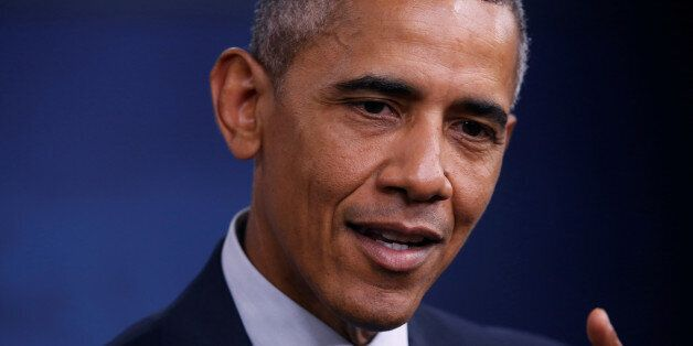 U.S. President Barack Obama holds a news conference at the Pentagon in Arlington, Virginia, U.S. August...
