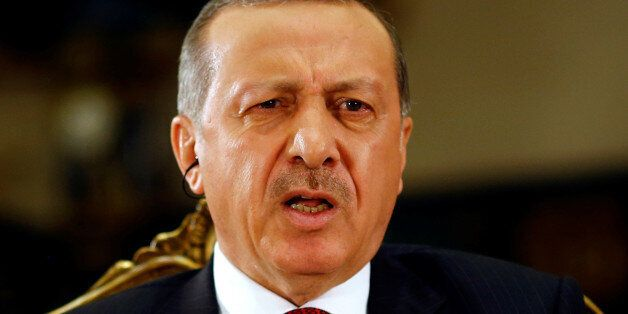 Turkish President Tayyip Erdogan attends an interview with Reuters at the Presidential Palace in Ankara,...