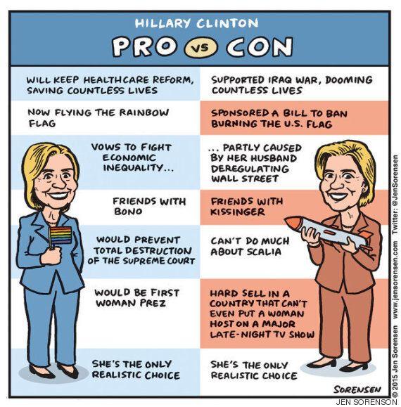여성 만평가 3명이 힐러리 클린턴을 그리는 것에 대해서 솔직하게
