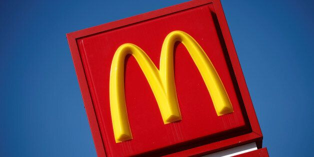 The logo of Dow Jones Industrial Average stock market index listed company McDonald's (MCD) is seen in...